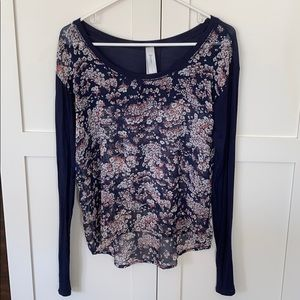 Aeropostale Navy and Pink Floral Long Sleeve Top